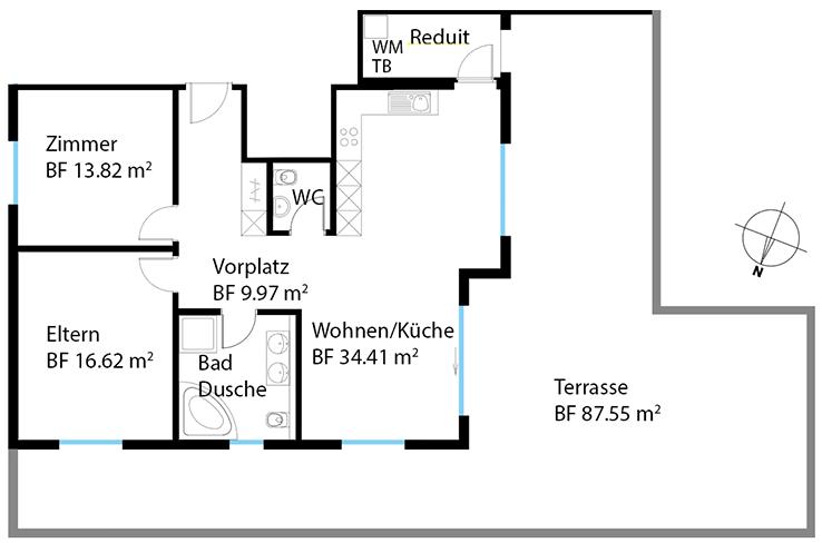 Wohnung 11, Attika, Kornweg